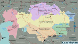 Large regions map of Kazakhstan.