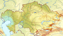 Large relief map of Kazakhstan.