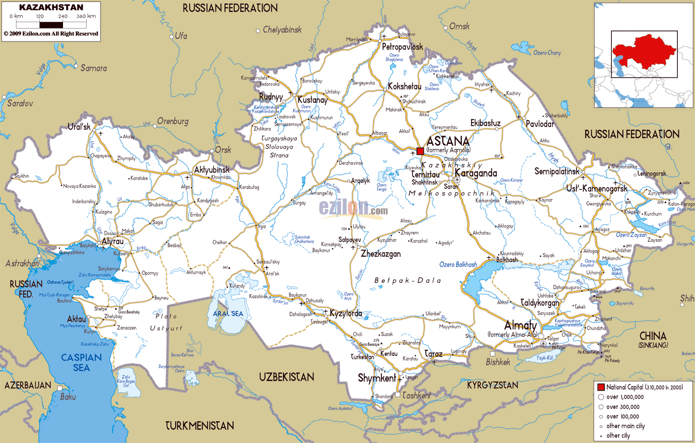 Maps of Kazakhstan | Detailed map of Kazakhstan in English ...