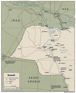 Detailed political map of Kuwait - 1991.