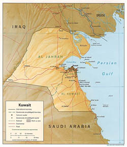 Detailed political map of Kuwait with relief, roads and cities - 1996.
