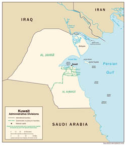 Large detailed administrative divisions map of Kuwait - 2006.