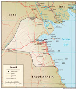 Large detailed political map of Kuwait with relief, roads and cities - 2006.