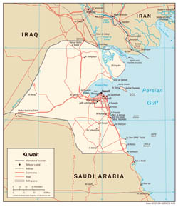 Large detailed political map of Kuwait with roads and cities - 2006.