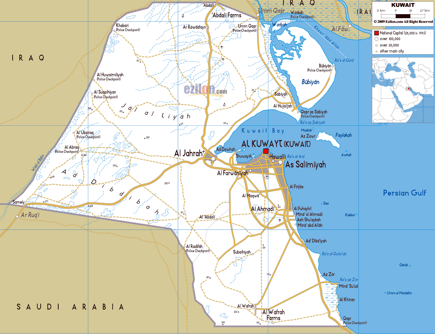 Maps of kuwait detailed map of kuwait in english tourist map of large road map of kuwait with cities and airports gumiabroncs Gallery
