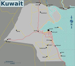 Map of Kuwait with roads.