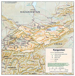 Detailed political and administrative map of Kyrgyzstan with relief - 1992.