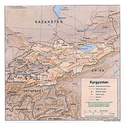 Detailed political and administrative map of Kyrgyzstan with relief - 1996.