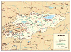 Detailed political and administrative map of Kyrgyzstan with roads and cities - 2005.