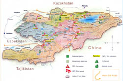 Detailed tourist map of Kyrgyzstan.