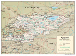 Large detailed political and administrative map of Kyrgyzstan with relief, roads and cities - 2005.