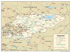 Large detailed political and administrative map of Kyrgyzstan with roads and cities - 2005.