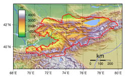 Large detailed topographical map of Kyrgyzstan.