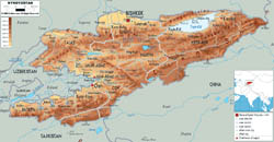 Large physical map of Kyrgyzstan with roads, cities and airports.