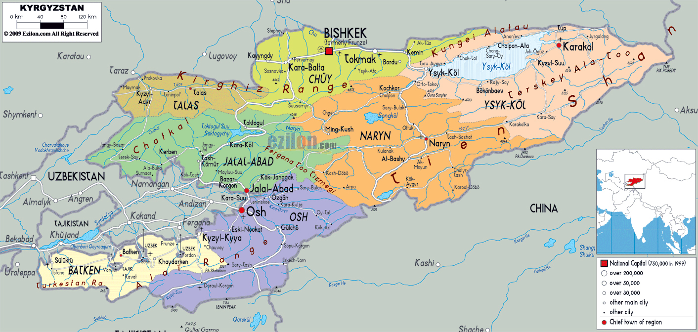 Maps of kyrgyzstan detailed map of kyrgyzstan in english tourist large political and administrative map of kyrgyzstan with roads cities and airports gumiabroncs Image collections