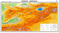 Large scale detailed physical map of Kyrgyzstan with all roads, cities and other marks.