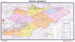 Large scale detailed political and administrative map of Kyrgyzstan with all roads, cities and other marks.