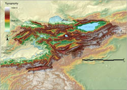 Large topographical map of Kyrgyzstan.