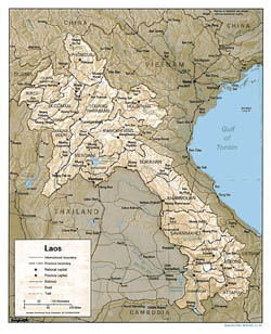 Detailed political and administrative map of Laos with relief, roads and cities - 1993.