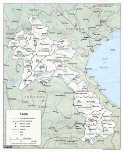 Detailed political and administrative map of Laos with roads and cities - 1993.
