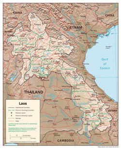 Large detailed political and administrative map of Laos with relief, roads and cities - 2003.