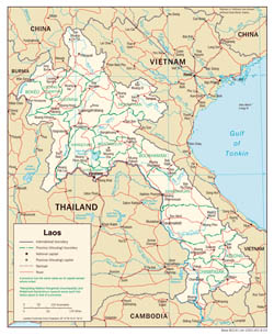 Large detailed political and administrative map of Laos with roads and cities - 2003.