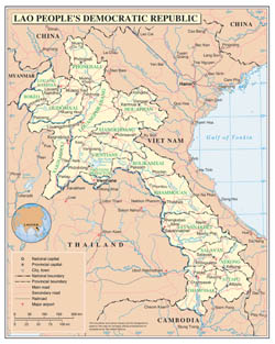 Large detailed political and administrative map of Laos with roads, major cities and airports.