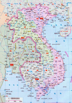 Large map of Vietnam, Laos and Cambodia in Chinese.