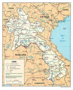 Large political and administrative map of Laos - 2003.