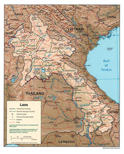 Large political and administrative map of Laos with relief - 2003.
