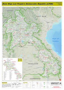 Large scale detailed base map of Laos with relief, roads and all cities.