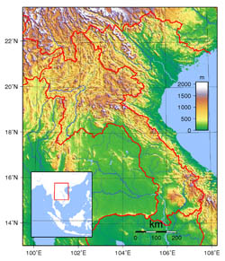Large topographical map of Laos.