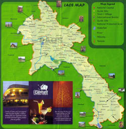 Large tourist map of Laos.