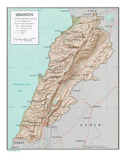 Detailed political and administrative map of Lebanon with relief - 1971.
