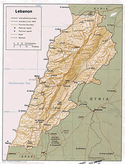 Detailed political and administrative map of Lebanon with relief - 1982.