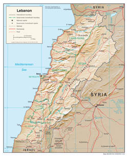Large detailed political and administrative map of Lebanon with relief, roads and cities - 2002.