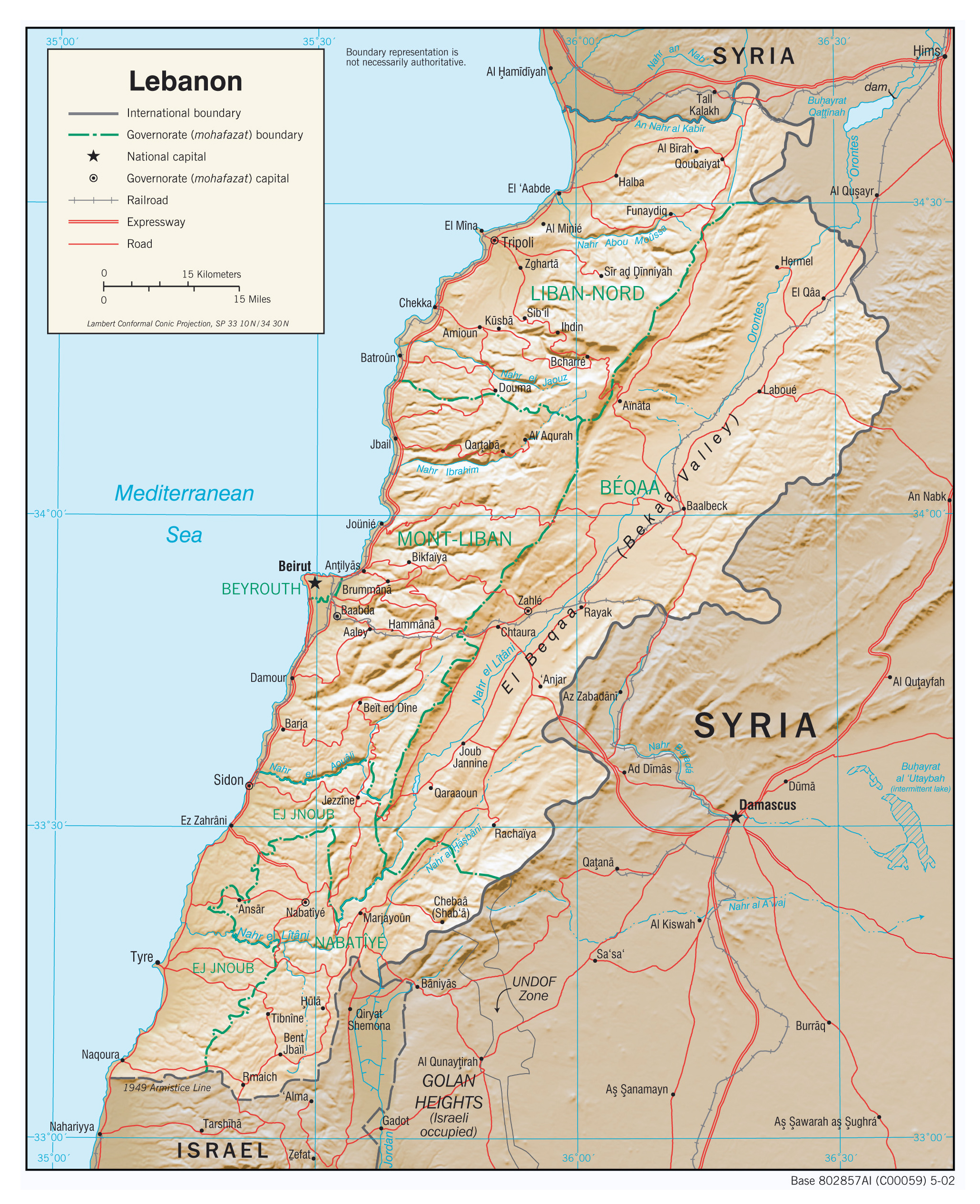 large detailed political and administrative map of lebanon with relief roads and cities 2002