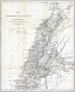 Large old map of Northern Palestine and Lebanon - 1856.