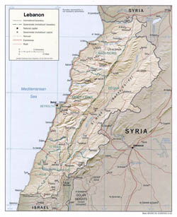 Large political and administrative map of Lebanon with relief - 2002.