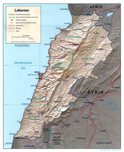 Large political and administrative map of Lebanon with relief, roads and cities - 2000.