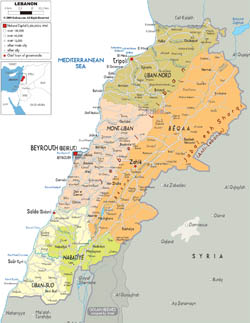 Large political and administrative map of Lebanon with roads, cities and airports.
