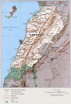 Large political map of Lebanon with relief.