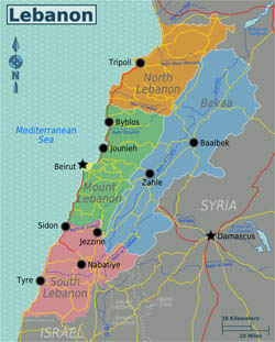 Large regions map of Lebanon.