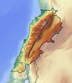 Large relief map of Lebanon.