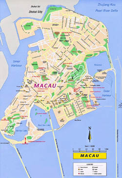 Detailed tourist map of Macau with roads.
