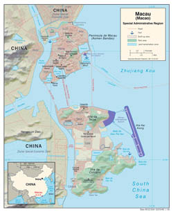 Large detailed political map of Macao with relief, roads and sea ports - 2008.