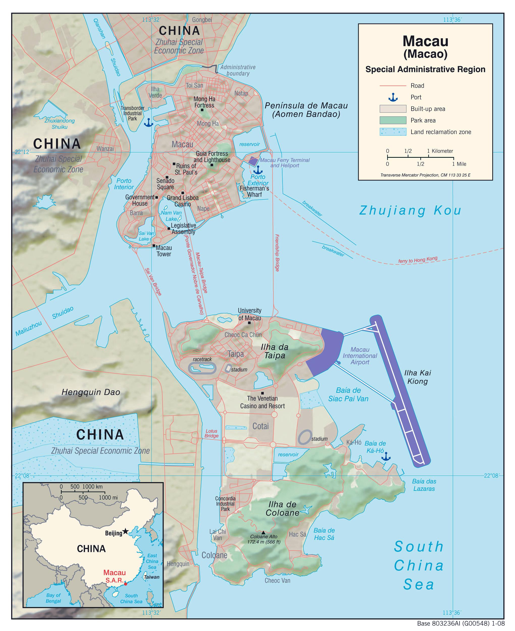 Maps of Macau Detailed Macau of Lebanon in English Tourist map
