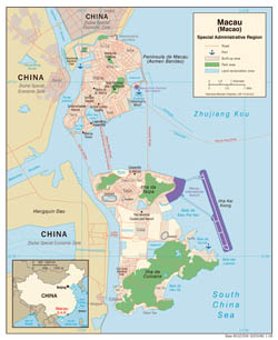 Large detailed political map of Macao with roads and sea ports - 2008.