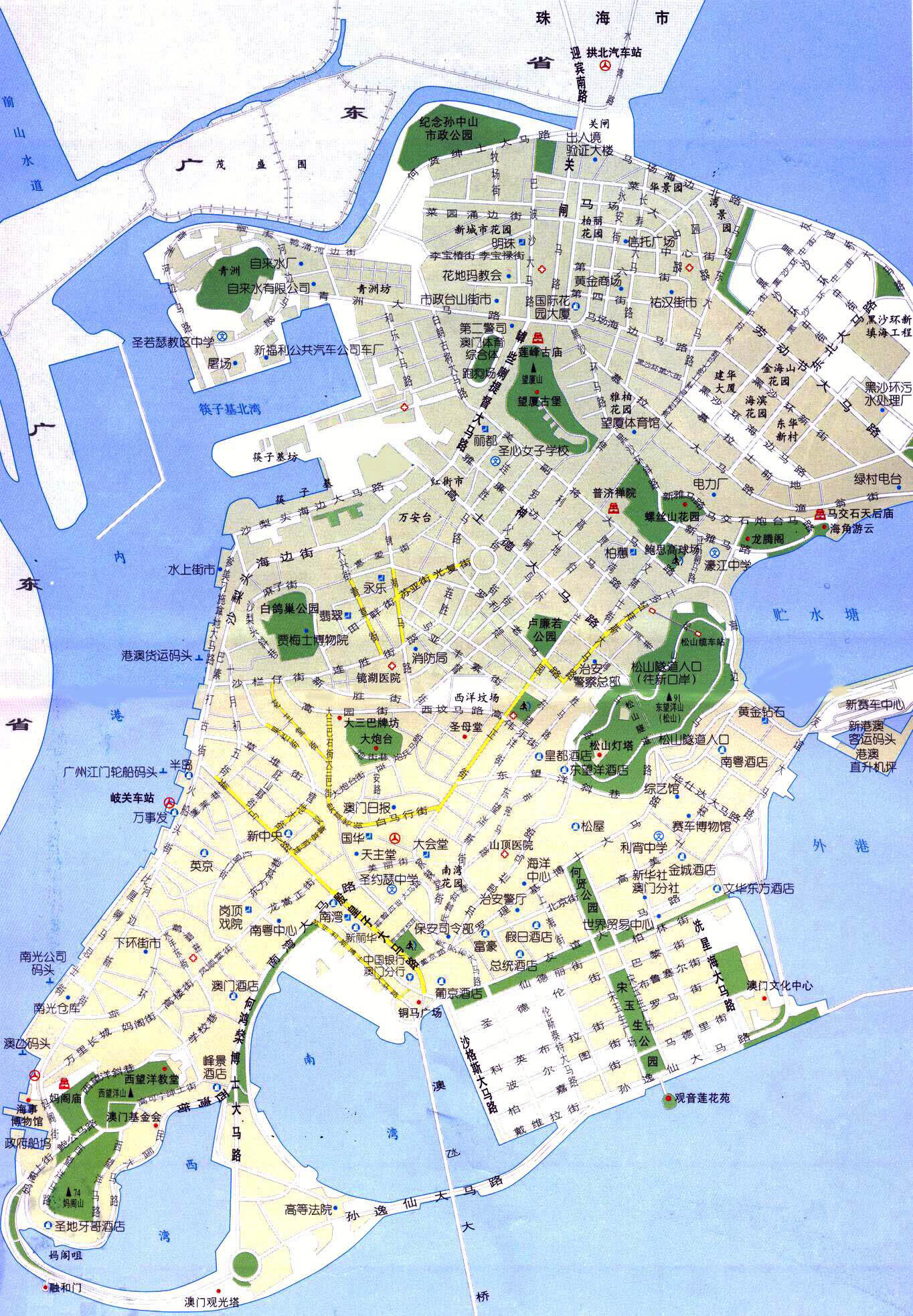 Maps of Macau Detailed Macau of Lebanon in English Tourist map