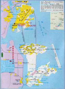 Large detailed road map of Macau.